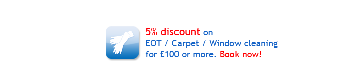 Christmas special offers: 5% discount on EOT / Carpet / Window cleaning.